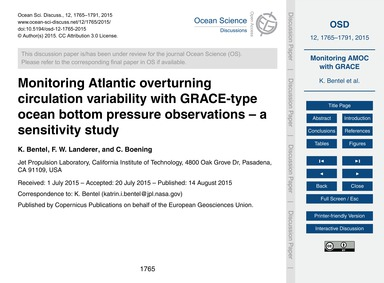 Monitoring Atlantic Overturning Circulat... by Bentel, K.
