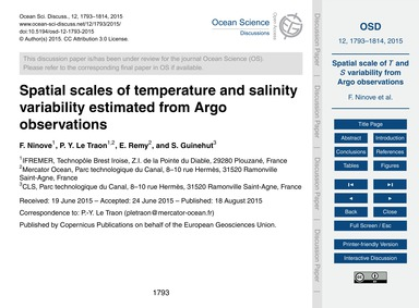 Spatial Scales of Temperature and Salini... by Ninove, F.
