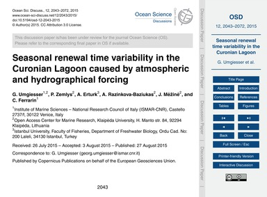 Seasonal Renewal Time Variability in the... by Umgiesser, G.