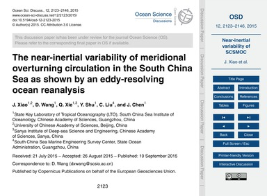 The Near-inertial Variability of Meridio... by Xiao, J.