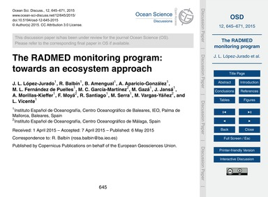 The Radmed Monitoring Program: Towards a... by López-jurado, J. L.