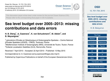 Sea Level Budget Over 2005–2013: Missing... by Dieng, H. B.