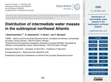 Distribution of Intermediate Water Masse... by Bashmachnikov, I.