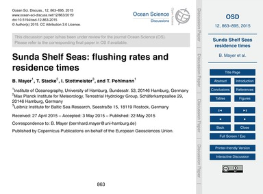 Sunda Shelf Seas: Flushing Rates and Res... by Mayer, B.