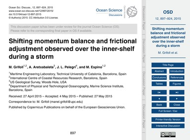Shifting Momentum Balance and Frictional... by Grifoll, M.