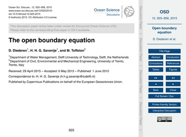 The Open Boundary Equation : Volume 12, ... by Diederen, D.