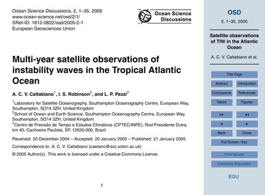 Multi-year Satellite Observations of Ins... by Caltabiano, A. C. V.