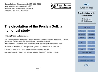 The Circulation of the Persian Gulf: a N... by Kämpf, J.