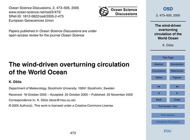 The Wind-driven Overturning Circulation ... by Döös, K.