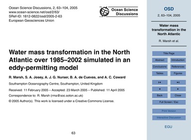 Water Mass Transformation in the North A... by Marsh, R.