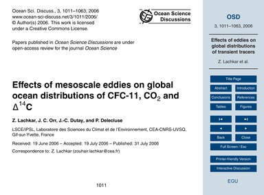 Effects of Mesoscale Eddies on Global Oc... by Lachkar, Z.
