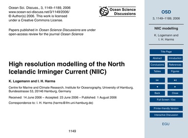 High Resolution Modelling of the North I... by Logemann, K.