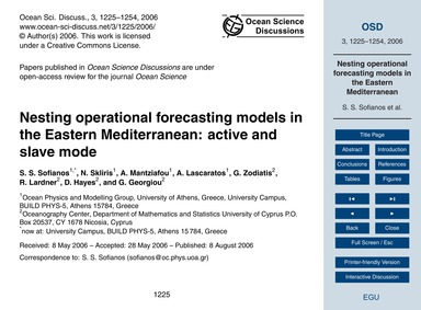 Nesting Operational Forecasting Models i... by Sofianos, S.S.