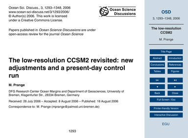 The Low-resolution Ccsm2 Revisited: New ... by Prange, M.