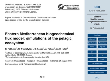 Eastern Mediterranean Biogeochemical Flu... by Petihakis, G.