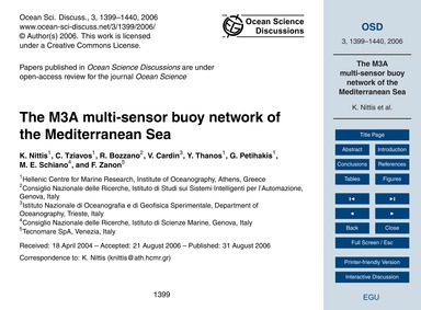 The M3A Multi-sensor Buoy Network of the... by Nittis, K.