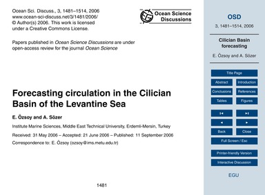 Forecasting Circulation in the Cilician ... by Özsoy, E.