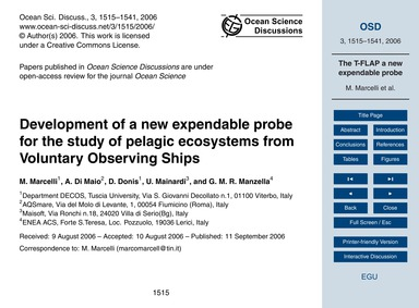 Development of a New Expendable Probe fo... by Marcelli, M.