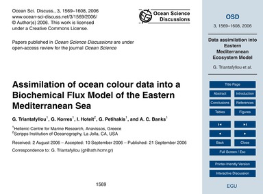 Assimilation of Ocean Colour Data Into a... by Triantafyllou, G.