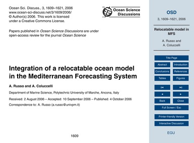 Integration of a Relocatable Ocean Model... by Russo, A.