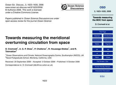 Towards Measuring the Meridional Overtur... by Cromwell, D.