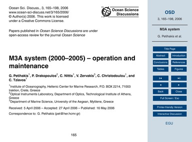 M3A System (2000–2005) – Operation and M... by Petihakis, G.