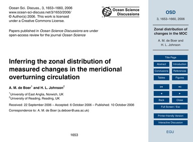 Inferring the Zonal Distribution of Meas... by De Boer, A.