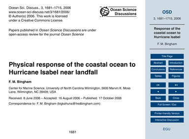 Physical Response of the Coastal Ocean t... by Bingham, F. M.