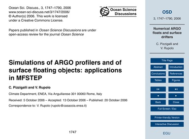 Simulations of Argo Profilers and of Sur... by Pizzigalli, C.