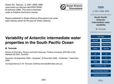 Variability of Antarctic Intermediate Wa... by Tomczak, M.