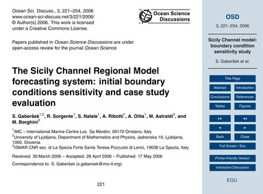 The Sicily Channel Regional Model Foreca... by Gaberšek, S.