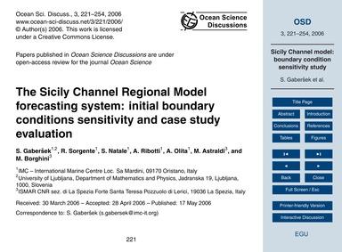 The Sicily Channel Regional Model Foreca... by Gaberšek, S.