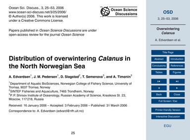 Distribution of Overwintering Calanus in... by Edvardsen, A.