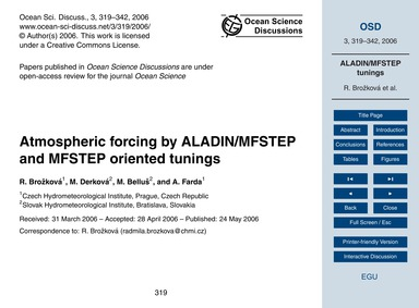 Atmospheric Forcing by Aladin/Mfstep and... by Brožková, R.