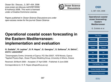 Operational Coastal Ocean Forecasting in... by Zodiatis, G.