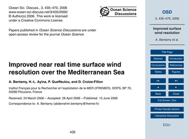 Improved Near Real Time Surface Wind Res... by Bentamy, A.