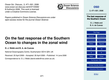 On the Fast Response of the Southern Oce... by Webb, D. J.