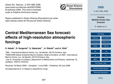 Central Mediterranean Sea Forecast: Effe... by Natale, S.