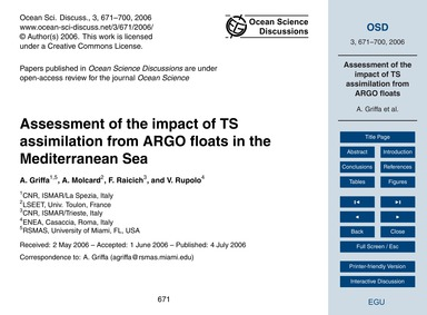 Assessment of the Impact of Ts Assimilat... by Griffa, A.