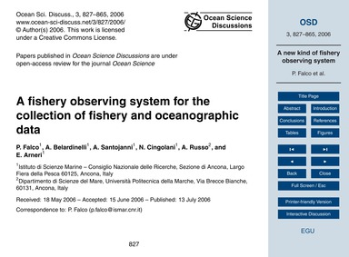 A Fishery Observing System for the Colle... by Falco, P.