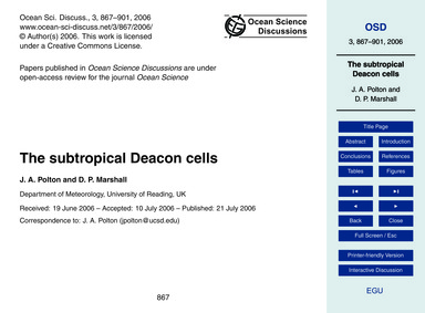 The Subtropical Deacon Cells : Volume 3,... by Polton, J. A.