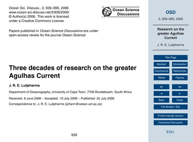 Three Decades of Research on the Greater... by Lutjeharms, J. R. E.