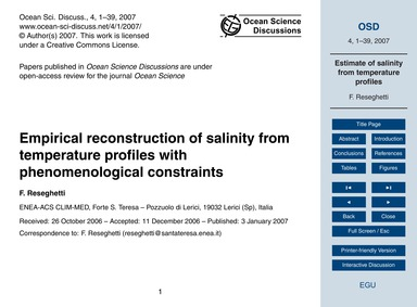 Empirical Reconstruction of Salinity fro... by Reseghetti, F.