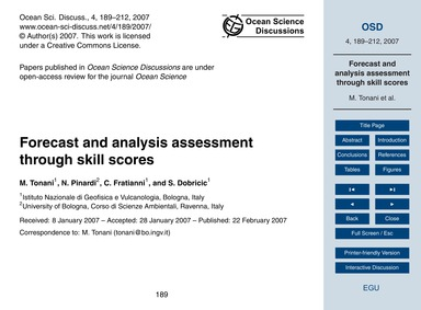Forecast and Analysis Assessment Through... by Tonani, M.