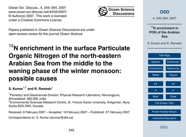 15N Enrichment in the Surface Particulat... by Kumar, S.
