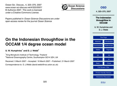 On the Indonesian Throughflow in the Occ... by Humphries, U. W.
