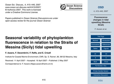 Seasonal Variability of Phytoplankton Fl... by Azzaro, F.