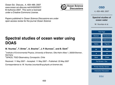 Spectral Studies of Ocean Water Using Do... by Vountas, M.
