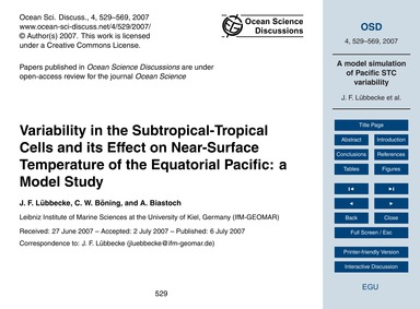 Variability in the Subtropical-tropical ... by Lübbecke, J. F.