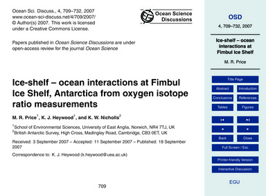 Ice-shelf – Ocean Interactions at Fimbul... by Price, M. R.